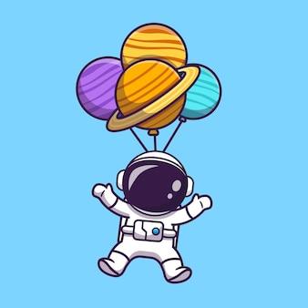 Netter astronaut, der mit planeten-ballon in der weltraum-karikatur-illustration schwimmt