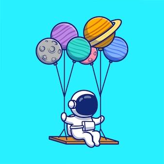 Netter astronaut, der mit planeten cartoon icon illustration schwingt. weltraumastronauten-symbol-konzept isoliert premium. flacher cartoon-stil