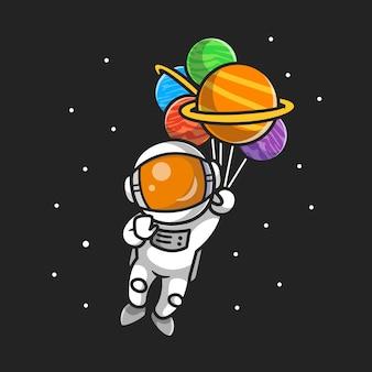 Netter astronaut, der mit planetenballons im weltraum-cartoon fliegt