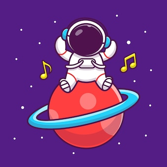 Netter astronaut, der musik auf dem planeten cartoon icon illustration hört. people science space icon konzept isoliert premium. flacher cartoon-stil