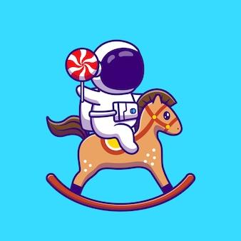 Netter astronaut, der pferdespielzeug spielt und süßigkeiten-lutscher-karikatur-symbol-illustration hält