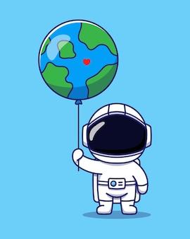 Netter astronaut, der planetenerdeballon hält