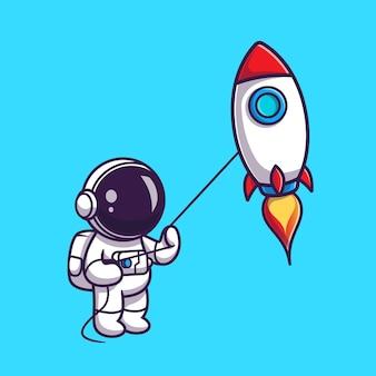 Netter astronaut, der raketendrachen-karikatur spielt