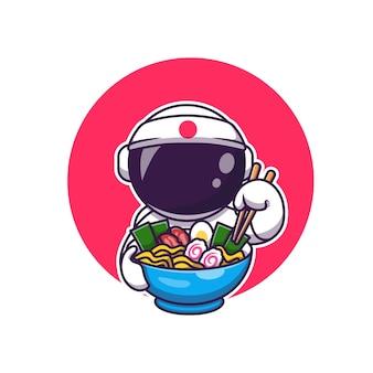 Netter astronaut, der ramen-karikatur isst. science food icon concept isoliert. flacher cartoon-stil