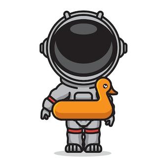 Netter astronaut, der sommer schwimmt