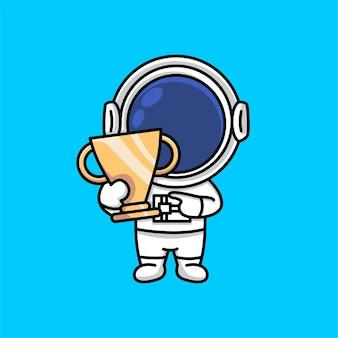 Netter astronaut, der trophäenmeister-karikatur hält