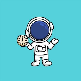 Netter astronaut, der uhr in seiner handkarikaturillustration hält