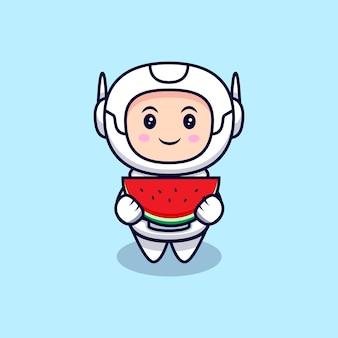 Netter astronaut, der wassermelonen-karikatur-illustration isst. flacher cartoon-stil
