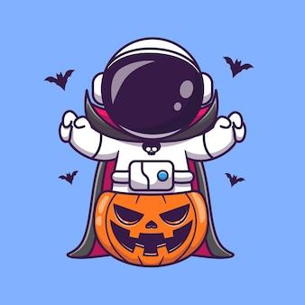 Netter astronaut dracula mit kürbis-halloween-karikatur-vektor-symbol-illustration. wissenschaft urlaub symbol konzept isoliert premium-vektor. flacher cartoon-stil