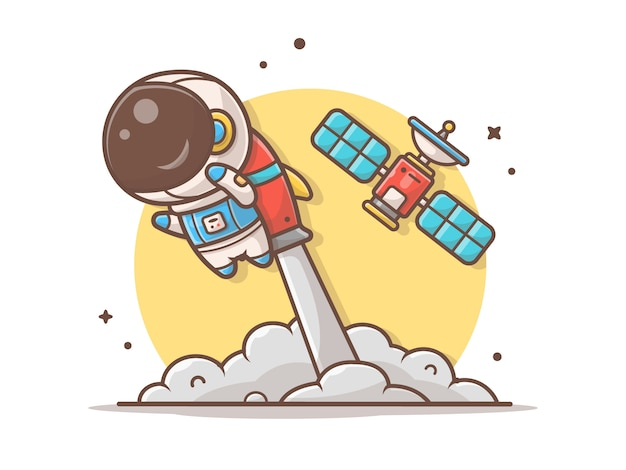 Netter astronaut flying mit rocket- und satellitenillustration