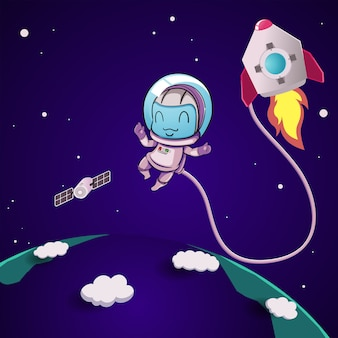 Netter astronaut im weltraum.