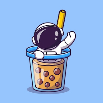 Netter astronaut in boba milk tea cup cartoon vektor icon illustration. weltraum essen und trinken symbol