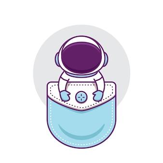 Netter astronaut in der tasche
