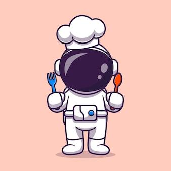 Netter astronaut koch mit gabel und löffel cartoon vektor icon illustration. wissenschaft beruf symbol konzept isoliert premium-vektor. flacher cartoon-stil