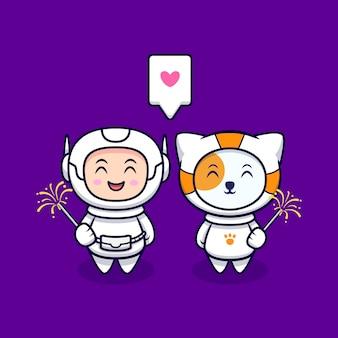 Netter astronaut liebt es, feuerwerk-cartoon-illustration zu spielen. flacher cartoon-stil