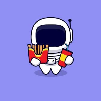 Netter astronaut liebt fast-food-cartoon. flacher cartoon-stil