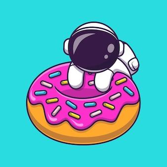 Netter astronaut mit donut-karikatur-vektor-symbol-illustration. wissenschaft essen symbol konzept isoliert premium-vektor. flacher cartoon-stil