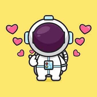 Netter astronaut mit fingerliebehaltungskarikaturikonenvektorillustration. design lokalisiert auf gelb. flacher cartoon-stil.