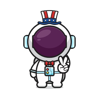 Netter astronaut mit friedenshaltung feiern amerika-unabhängigkeitstagkarikaturikonen-vektorillustration. design lokalisiert auf weiß. flacher cartoon-stil.