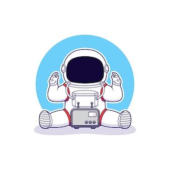 Netter astronaut mit funkverbindung