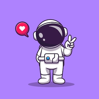 Netter astronaut mit hand-friedens-karikatur. raumfahrt-technologie-symbol-konzept isoliert. flacher cartoon-stil