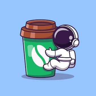 Netter astronaut mit kaffeetasse-karikatur-vektor-symbol-illustration. weltraum essen und trinken symbol