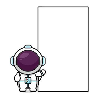 Netter astronaut mit leerem brettkarikaturikonen-vektorillustration. design lokalisiert auf weiß. flacher cartoon-stil.