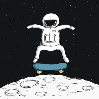 Netter astronaut mit skateboard auf dem mond