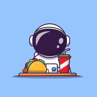 Netter astronaut mit taco und soda cartoon illustration. wissenschaftliches lebensmittel- und getränkekonzept. flacher cartoon-stil