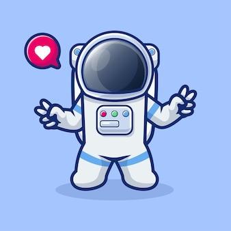 Netter astronaut mit zweihandfriedenskarikatur weltraumtechnologieikonenkonzept lokalisierte flache karikaturart kostenlosen vektoren