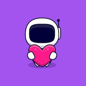 Netter astronaut umarmt rosa herz-karikatur. flacher cartoon-stil