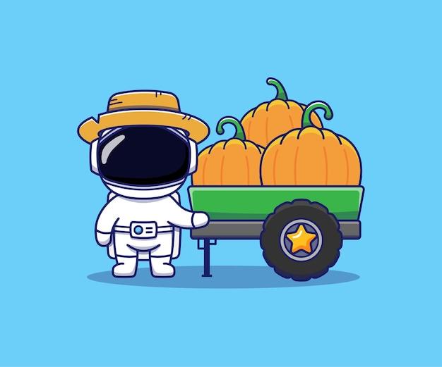 Netter astronaut viele kürbisse im lkw
