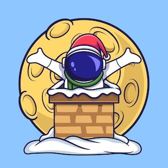Netter astronaut weihnachtscharakter ging in den schornstein des hauses. flacher cartoon-stil