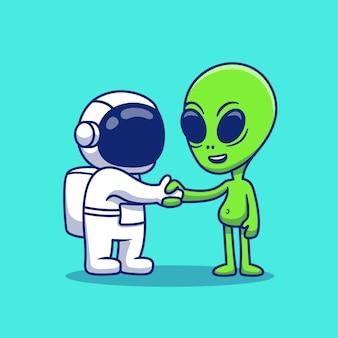 Netter astronauten-handschlag mit fremder karikatur-symbol-illustration. space icon konzept isoliert premium. flacher cartoon-stil