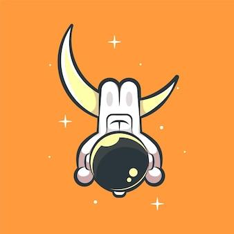 Netter astronautenaufhänger auf der mondkarikaturillustration