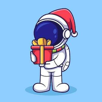 Netter astronautencharakter, der weihnachtsgeschenkbox hält. flache karikaturartillustration.