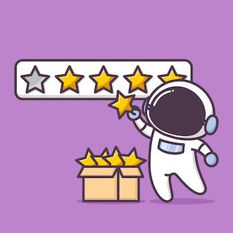 Netter astronautencharakter in der bewertungsillustration