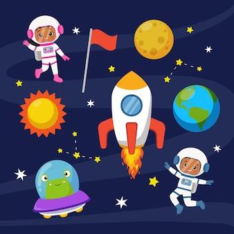 Netter astronautenjunge und -mädchen im raumanzugclipart flaches vektorkarikaturdesign