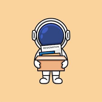 Netter astronautenstab, der aus dem bürokarikatur herauskommt