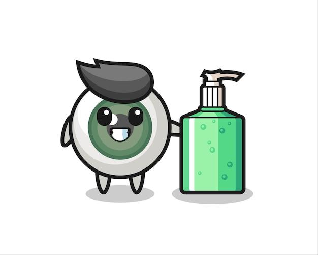 Netter augapfel-cartoon mit händedesinfektionsmittel, süßes design für t-shirt, aufkleber, logo-element