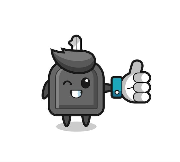Netter autoschlüssel mit social-media-daumen hoch symbol, süßes design für t-shirt, aufkleber, logo-element