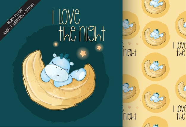 Netter baby-dino, der auf der mondillustration und nahtlosem muster schläft