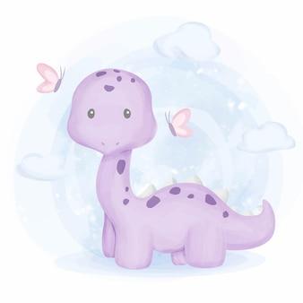 Netter baby-dinosaurier und schmetterling