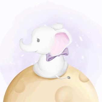 Netter baby-elefant-fliege zum mond