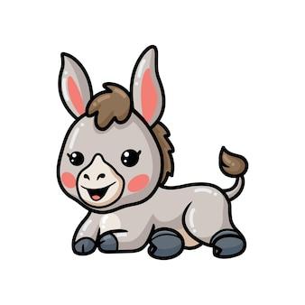 Netter baby-esel-cartoon, der sich hinlegt