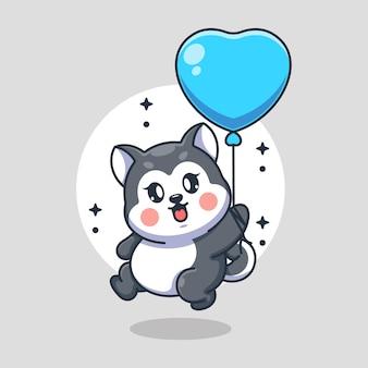 Netter baby-husky-hund, der mit ballonkarikatur fliegt