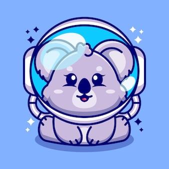 Netter baby-koala, der eine astronautenhelm-zeichentrickfigur trägt