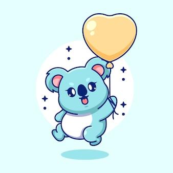 Netter baby-koala, der mit ballonkarikatur fliegt