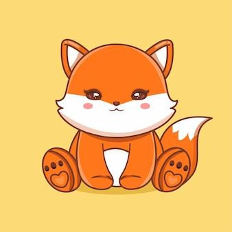 Netter baby-löwe, der karikatur-vektor-icon-illustration sitzt. tier natur symbol konzept isoliert premium-vektor. flacher cartoon-stil
