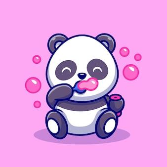 Netter baby-panda, der seifenblasen-karikatur-vektor-icon-illustration spielt. tier natur symbol konzept isoliert premium-vektor. flacher cartoon-stil